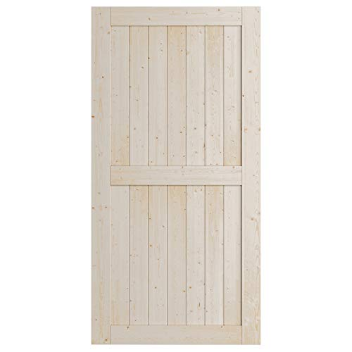 SmartStandard 42in x 84in Wood Sliding Barn Door, Pre-Drilled Ready to Assemble, DIY Unfinished Solid Spruce Wood…