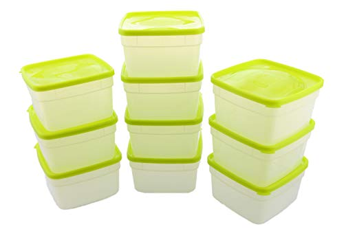 Arrow Reusable Plastic Storage Container Set, 10 Pack, 1 Pint/16 Ounce Each - Food, Meal Prep, Leftovers - Freeze, Store, Reheat - Clear Container Set With Lids - BPA-Free, Dishwasher/Microwave Safe