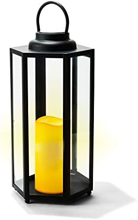 Large Solar Candle Lantern – 18 Inch Tall, Glass Panels, Matte Black Metal Frame, Waterproof Flameless Pillar Candle, Dusk to Dawn Timer, Large Size for Floor or Patio Decor, Battery Included