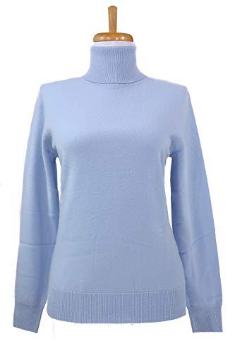 - Shephe 4 Ply Womens Turtleneck Cashmere Sweater Sky Blue (Large)