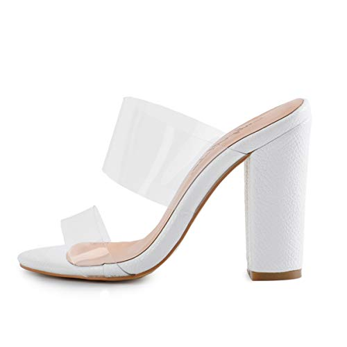 Onlymaker Women's Clear Open Toe Double Straps Chunky Heels Mules Snake Pattern High Heels Slip on Slide Sandals White 5 M - Heel Womens High Slides