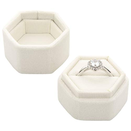 Koyal Wholesale Velvet Ring Box, Hexagon Vintage Wedding Ceremony Ring Box with Detachable Lid, 2 Piece Engagement Ring Box Holder, Modern Proposal Idea (Ivory) (Best Affordable Engagement Rings)