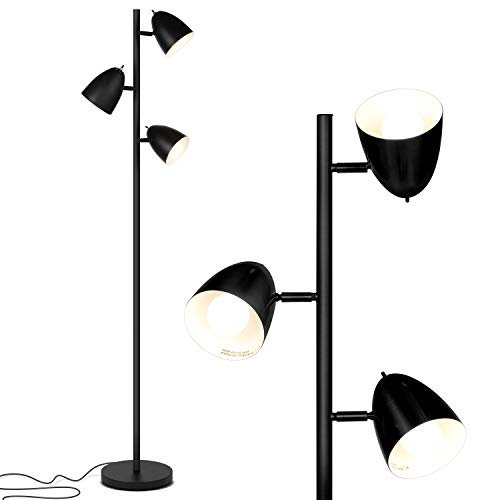 Brightech Jacob - LED Reading and Floor Lamp for Living Rooms & Bedrooms - Classy, Mid Century Modern Adjustable 3 Light Tree - Standing Tall Pole Lamp with 3 LED Bulbs - Classic Black ()