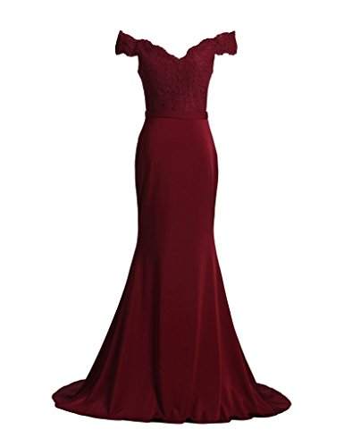 Burgundy Dress D Gown Lace Mermaid Shoulder Off Women's Long S H Evening Homcoming 7q4w1f7