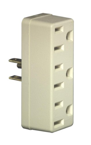 Leviton 697-I Grounding Adapter, 125 V, 15 A, 3 Outlet, Ivory