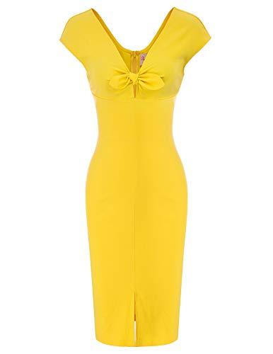 Belle Poque Plus Size 1950s Style Cap Sleeve Slim Business Pencil Dress Size XL, Yellow(BP875)