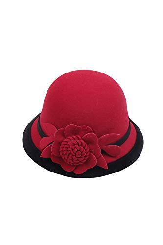 Robe Britannique Chapeau Cloche Femmes Beanie Pour Fleur Rouge Rond Élégant Église bvYIf6y7g