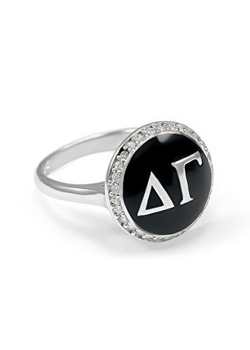 Delta Gamma Sterling Silver Ring with Black Enamel and CZs size 9 (Delta Gamma Ring)
