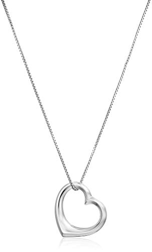 Amazon Essentials Sterling Silver Open Heart Pendant Necklace, Large, 18""
