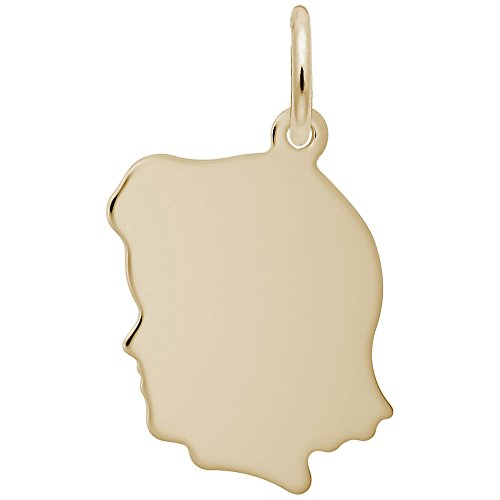 Rembrandt Charms, Small Girl Silhouette, 22K Yellow Gold Plated Silver, Engravable
