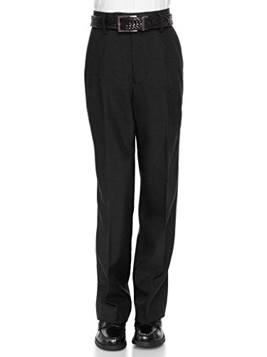 RGM Boys Dress Pants Flat-Front - Slim fit Dress Slacks 100% Dacron Black 14 by RGM