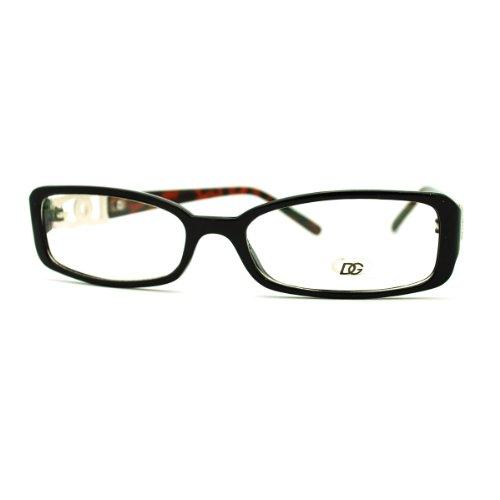 DG Eyewear Clear Lens Glasses Womens Rectangular Eyeglasses Black - Eye Glasses Dg