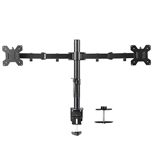 Suptek Dual LED LCD Monitor Desk Mount Heavy Duty Fully Adjustable Stand for 2 / Two Screens up to 27 inch (MD6442) ()