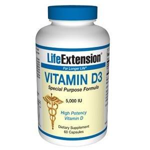 Prolongation de la vie vitamine D3, 5000 UI, 60-Count
