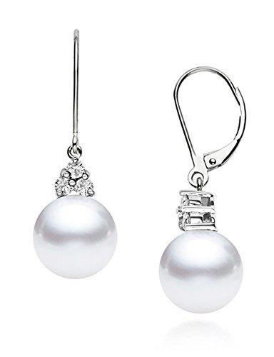 - 14k White Gold AAAA Quality Japanese Akoya Cultured Pearl Diamond Dangle Earrings (7.5-8mm)