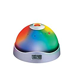 Color-Changing LED Stars Projection Alarm Clock with Digital Display, Images Include Stars and Moon Shapes