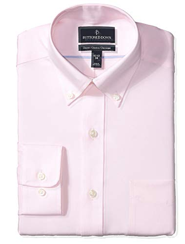 (BUTTONED DOWN Men's Classic Fit Button Collar Solid Non-Iron Dress Shirt, Light Pink/Pockets, 16.5