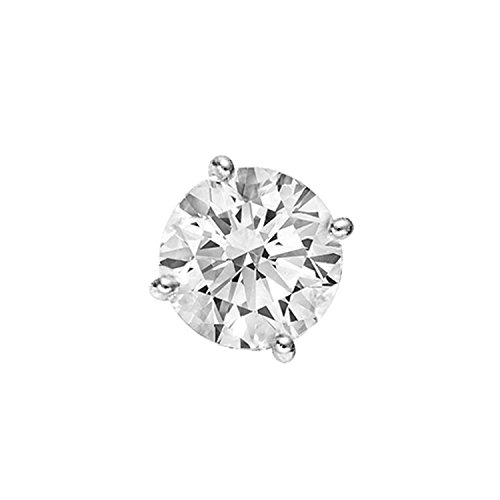 IGI Certified 4-Prong Setting Round Cut Single Diamond Stud Earrings in 14K White Gold (0.05 Carat) 0.05 Ct Single