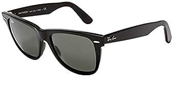 Ray-Ban RB2140 Wayfarer Sunglasses (50mm Shiny Black Frame Solid G15 Lens, 50mm Shiny Black Frame Solid G15 Lens)