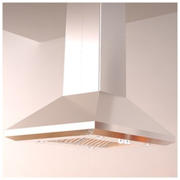 Elica Chimney Hoods - ELICA ELI136SS Island Chimney Hood with 1,200 CFM Internal Blower, Hush Sound Suppression, 2 Dishwasher-Safe Stainless Steel Baffle Filters, 4 Halogen Lamps and Rotary Knob Controls