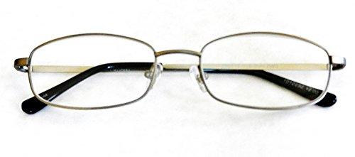 Foster Grant +2.00 TITANIUM Rectangular Silver Wire Rim Reading Glasses.(341)..+ FREE BONUS MICRO-SUEDE CLEANING - Rims Silver Reading