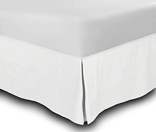 "SRP Linen 1-PC Split Corner Bed Skirt/Dust Ruffle - King Size Solid 100% Egyptian Cotton (Color : White) Fits Upto 16"" Inch Drop/Fall Length"