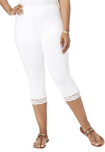 Roamans Women's Plus Size Lace Trim Capri White,L (Trim Capris Knit)