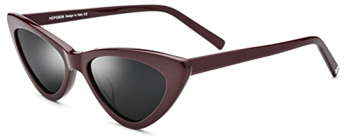 HEPIDEM Acetate Sexy Cateye Polarized Sunglasses for Women with Cat Eye Frame 9104T (Wine - Brand Famous Sunglasses