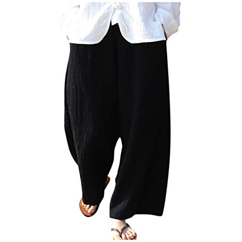 JOFOW Womens Wide Leg Pants Solid Casual Long Loose High Waist Dress Pant Swing Soft Fashion Pajamas Trousers Gift (M,Black) ()