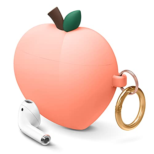 elago Peach AirPods Case Cover Compatible with Apple AirPods Case, 3D Cute Design Case Cover with Keychain for Apple AirPods Case (Peach) [US Patent Registered]