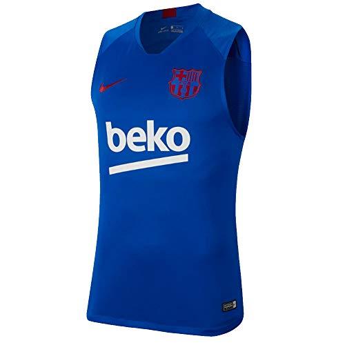 Nike 2019-2020 Barcelona Sleeveless Training Football Soccer T-Shirt Jersey (Blue)
