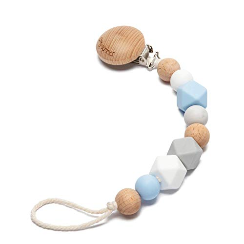 O'MySummer Modern Pacifier Clip for Baby|Natural Beech Wood & 100% BPA Free Silicone Beads|Universal fits Bibs, Nuk, Tommee Tippee and Avent|Binky Holder for Infant Newborn Girls & Boys (Royal Blue)