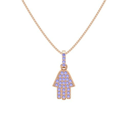 Roses Hamsa Necklace - 14K Rose Gold Necklace with Tanzanite â€