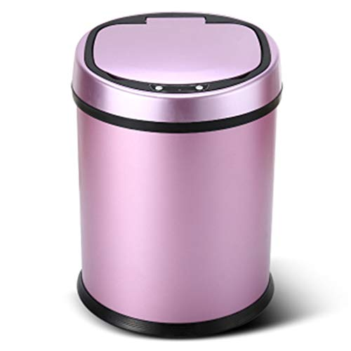 LXYULJT 8L Stainless Silver Steel Automatic Sensor Touchless Waste Bin-Rose Red ()