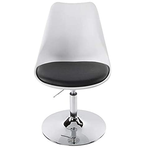 Finch Fox Height-Adjustable Swivel Modern 'Queen' / 'Cosmic'/ 'Victoria' Plastic Office Chair with Cushion for Salon/Spa / Bar/Medical / Kitchen/Doctor Stool Chair (White & Black Color)