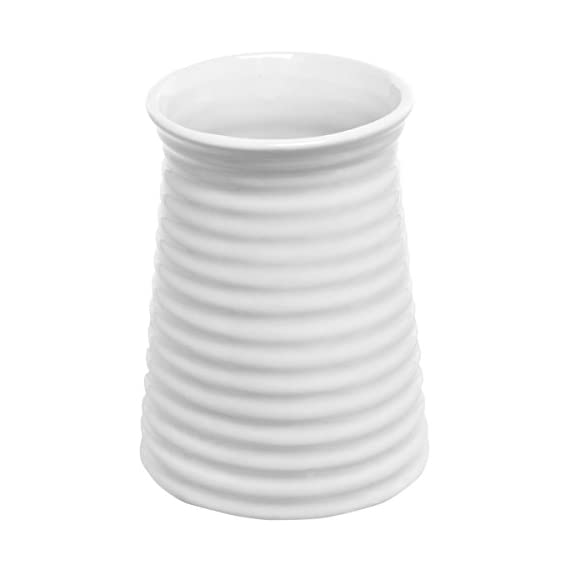 5.7-Inch Modern Ribbed Design Small White Ceramic Decorative Tabletop Centerpiece Vase/Flower Pot - An elegantly crafted small white ceramic decorative vase with distinctive lines on a bold silhouette Features a stylish ribbed exterior design made from glazed white ceramic, perfect for displaying flowers and other decorative items Petite size and contemporary design make this the ideal centerpiece for guest tables at your special event or even as a lavish addition to everyday decor - vases, kitchen-dining-room-decor, kitchen-dining-room - 31kwFykVl0L. SS570  -