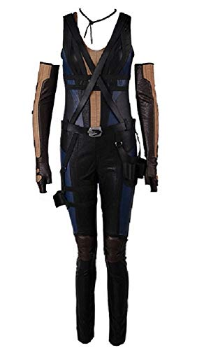 Joyfunny Womens Superhero Costume Halloween Cosplay Black Suit with Belt Prop L