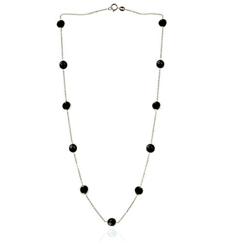 14K White Gold Handmade Station Necklace With Onyx Gemstones 15-20 Inches ()