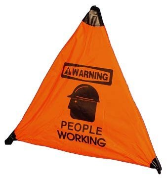 NMC HFS8 18'' x 25'' Handy Cone Floor Sign w/Legend: ''Warning People Working'', Pack of 4 pcs