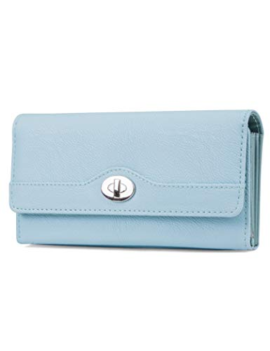 Wallet Womens Blue (Mundi File Master Womens RFID Blocking Wallet Clutch Organizer With Change Pocket (One Size, Ice Blue))