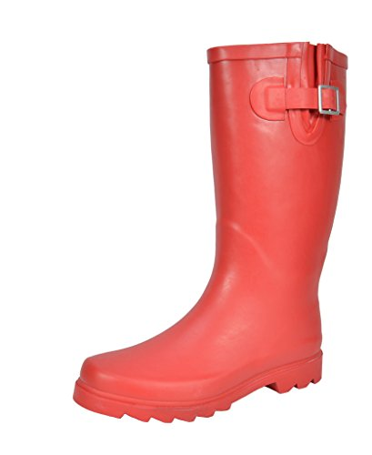 ARCTIV8 MAD Women's Waterproof Rubber Mid Calf Tall Pull On Winter Snow Rain Boots Red Size 8