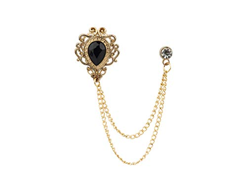 Knighthood Stone with Gold Engraving Swarovski Chain Brooch/Lapel Pin (Black)