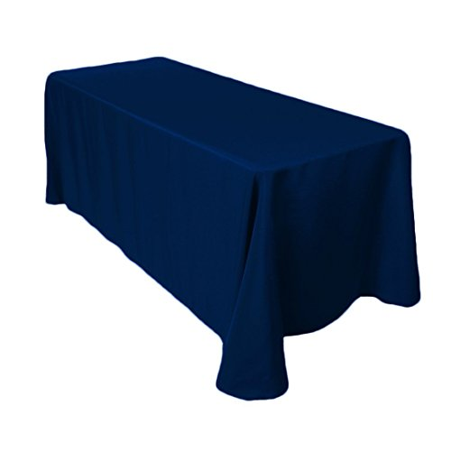 (Gee Di Moda Rectangle Tablecloth - 90 x 156 Inch - Navy Blue Rectangular Table Cloth for 8 Foot Table in Washable Polyester - Great for Buffet Table, Parties, Holiday Dinner, Wedding & More)