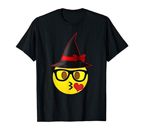 Nerd Emoji Witch Hat Halloween T-Shirt for Girls and -