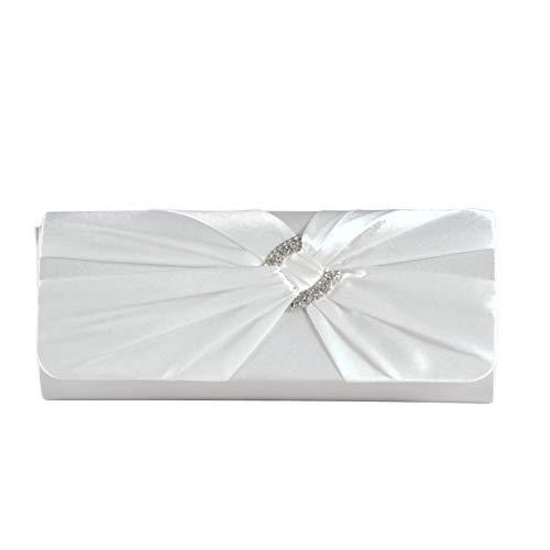 Blanc Plissé Rabat Noeud de Décoré Sac avec Femme Strassé de pour Main en Chainette a Satin Soirée ngnqYaw0