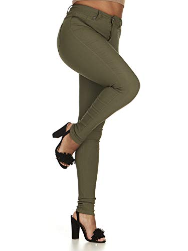 High Waisted Ultra Skinny Cigarette Slim Fit Extra Stretch Junior Pants Jeans Plus 20 in Olive Green