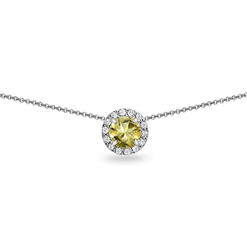 - Sterling Silver Citrine and White Topaz Round Halo Slide Choker Necklace