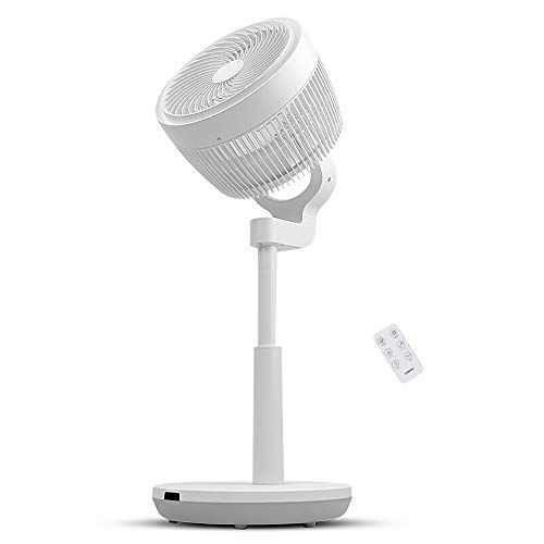 Air Circulator Fan, 3D Oscillating Pedestal Fan with 3 Modes, 4 Variable Speed Control, 7h Timer, LED Light Display, Adjustable Height and Free Installation
