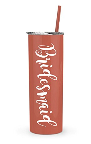 (Bridesmaid Skinny Tumbler | 20 oz Stainless Steel (Coral/White) Bride Gift, Bridal Shower, Engagement, Bachelorette, Wedding, Bridal Gifts, Maid of Honor, Bridesmaids, Bride)