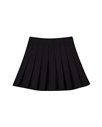 Liangzhu Femmes Jupes Plisse Couleur Unie Courte Taille Haute Style Collgial Jupe Noir